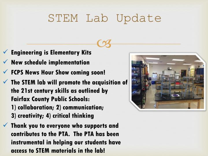 STEM Lab Update