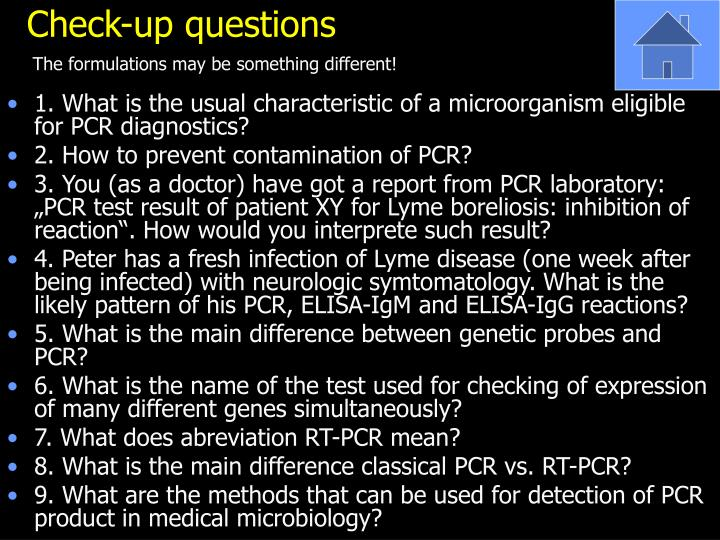Check-up questions