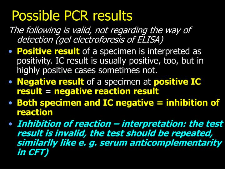 Possible PCR results