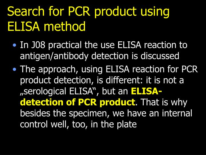 Search for PCR product using ELISA method