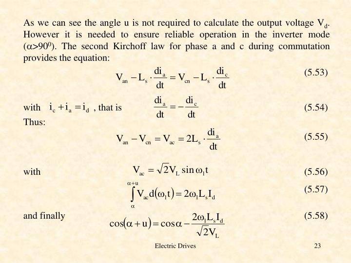As we can see the angle u is not required to calculate the output voltage V