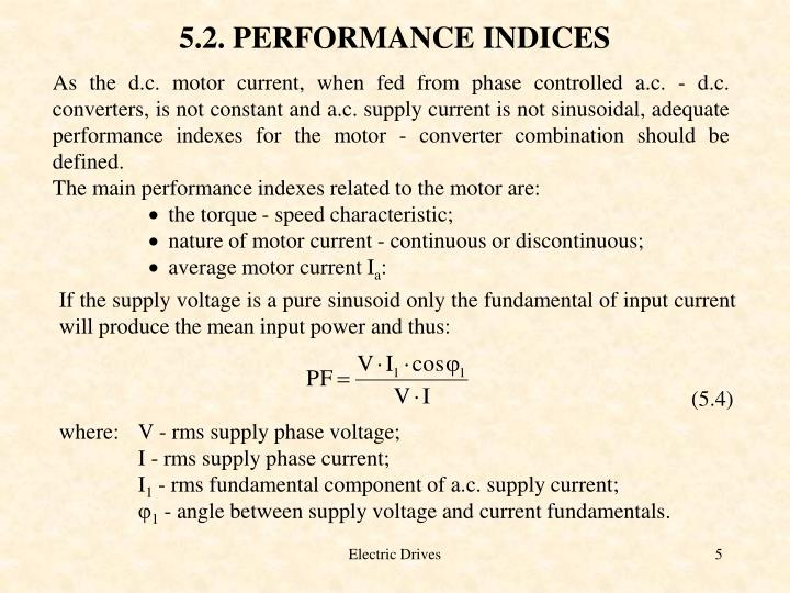 5.2. PERFORMANCE INDICES