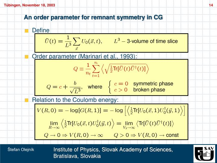An order parameter for remnant symmetry in CG