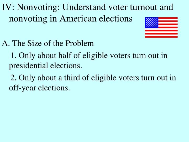 IV: Nonvoting: Understand voter turnout and nonvoting in American elections
