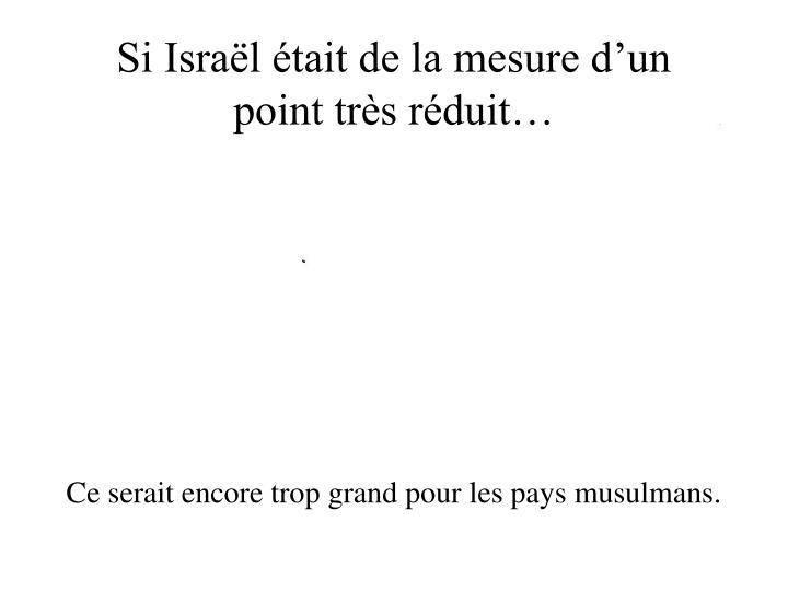 Si Israël était de la mesure d'un point très réduit…