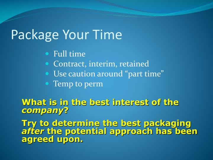 Package Your Time