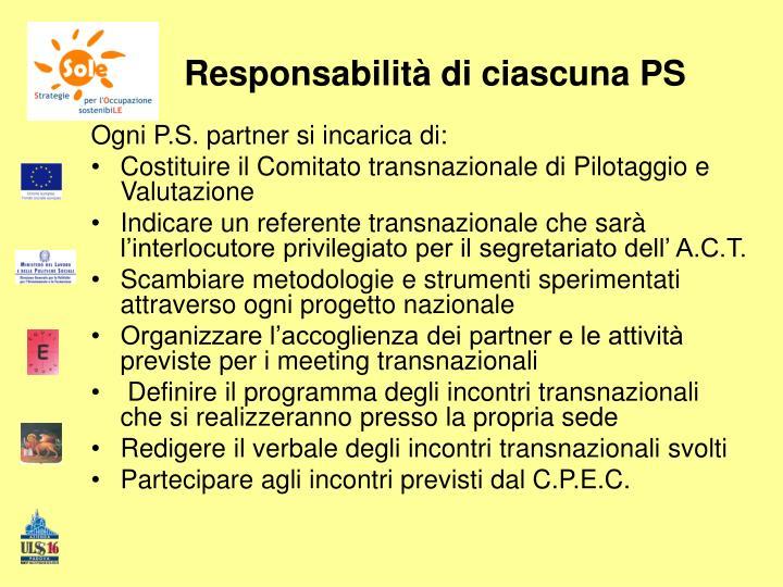 Responsabilità di ciascuna PS