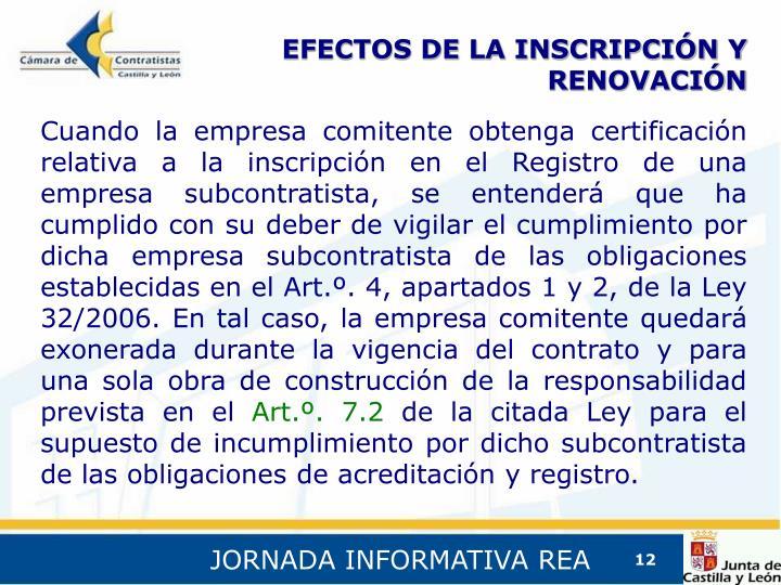 EFECTOS DE LA INSCRIPCIÓN Y RENOVACIÓN
