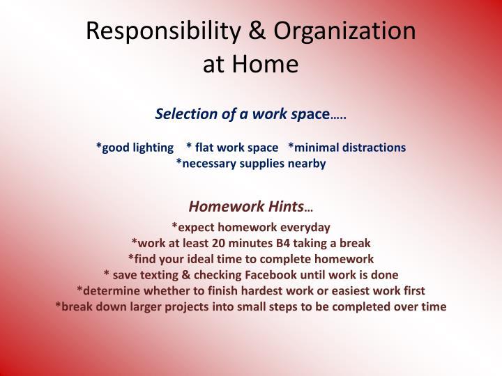 Responsibility organization at home