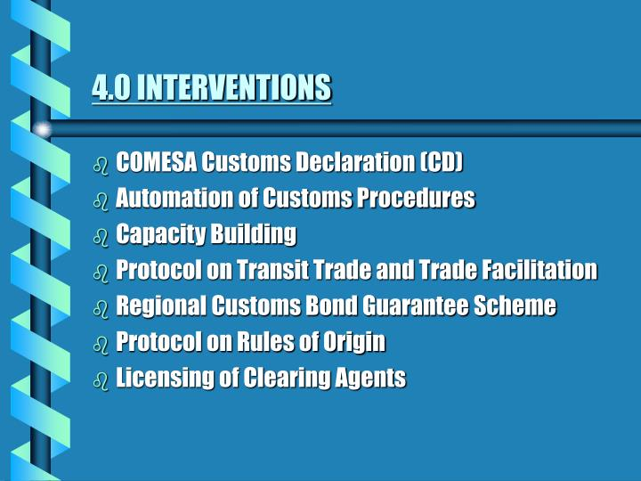 4.0 INTERVENTIONS
