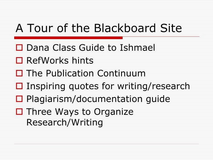 A Tour of the Blackboard Site