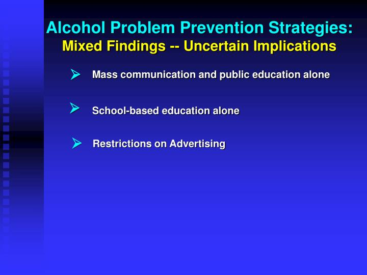 Alcohol Problem Prevention Strategies: