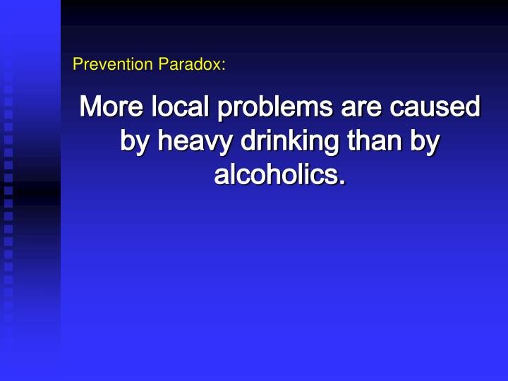 More local problems are caused by heavy drinking than by alcoholics