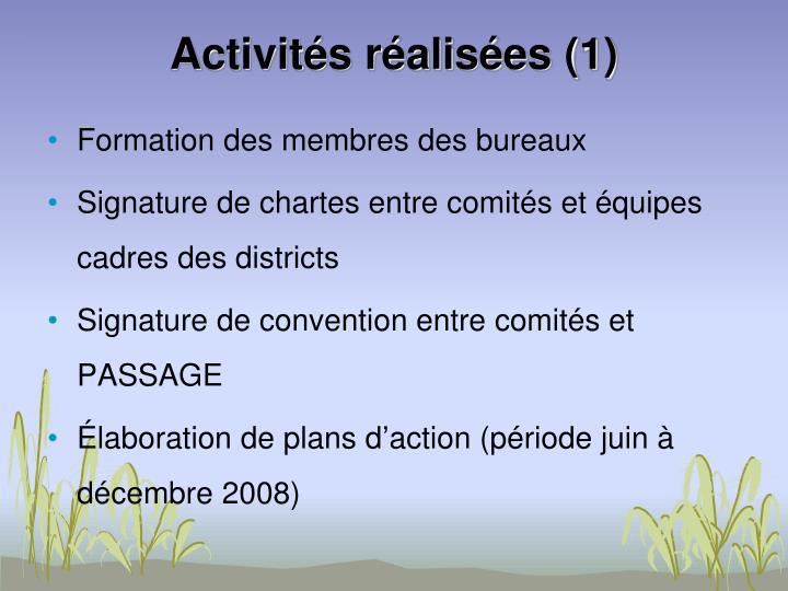 Activités réalisées (1)