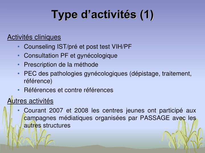 Type d'activités (1)