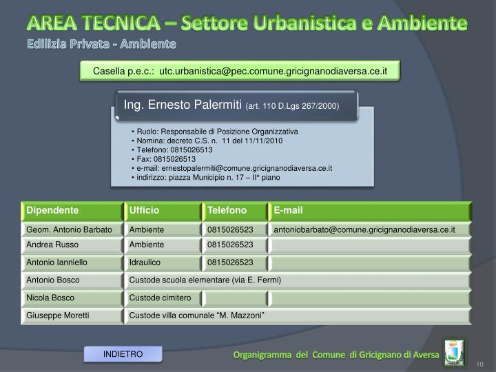 AREA TECNICA – Settore Urbanistica e Ambiente