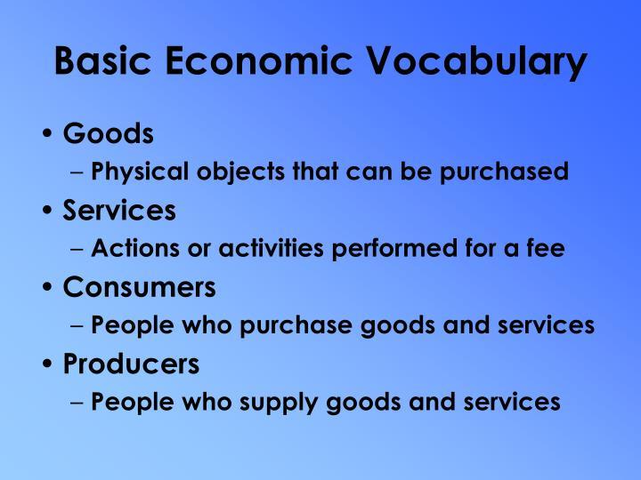 Basic Economic Vocabulary