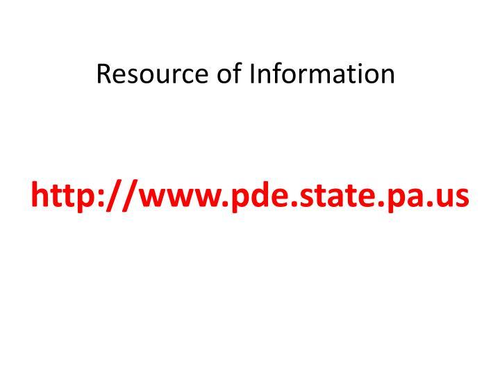 Resource of information