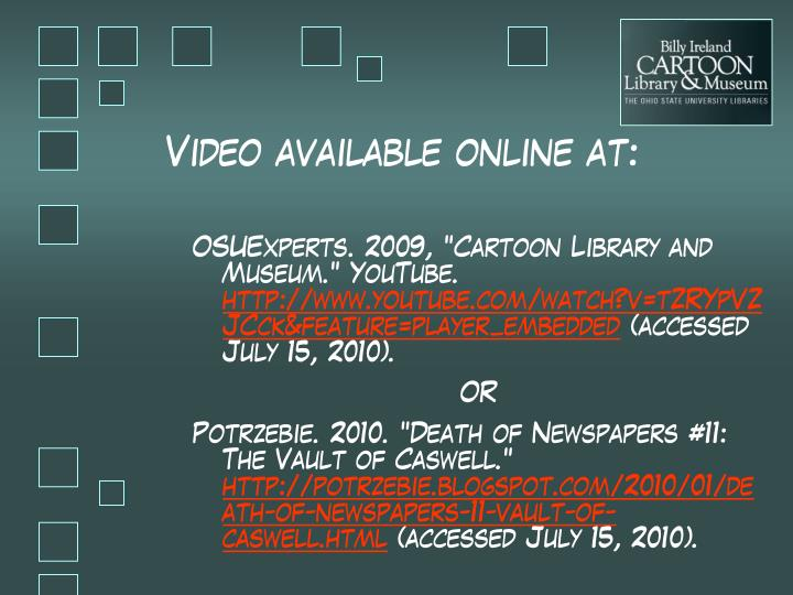 Video available online at: