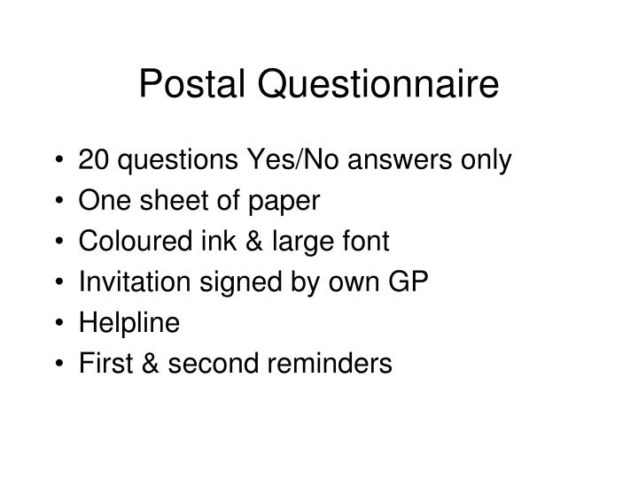Postal Questionnaire