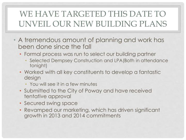 We have targeted this date to unveil our new building plans
