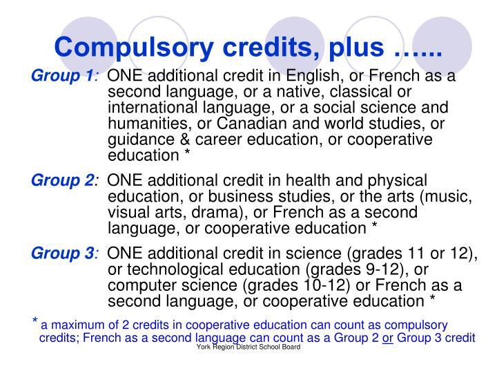 Compulsory credits, plus …...