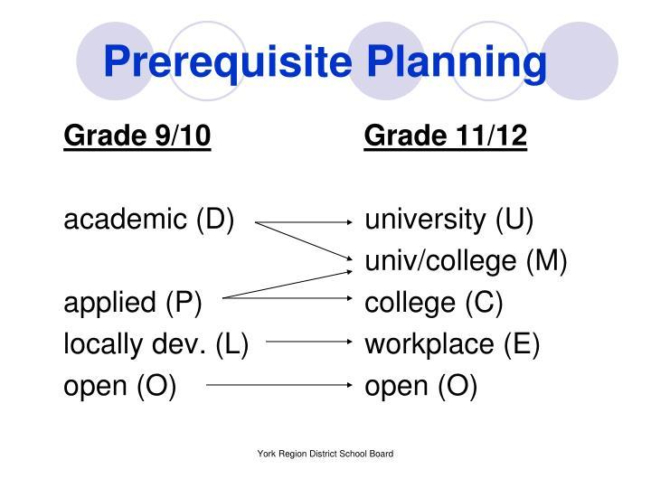 Prerequisite Planning