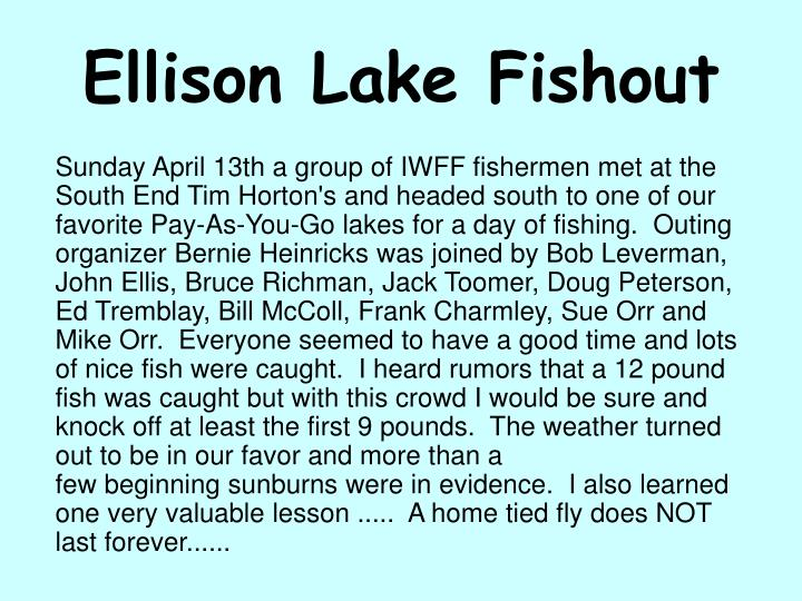 Ellison lake fishout