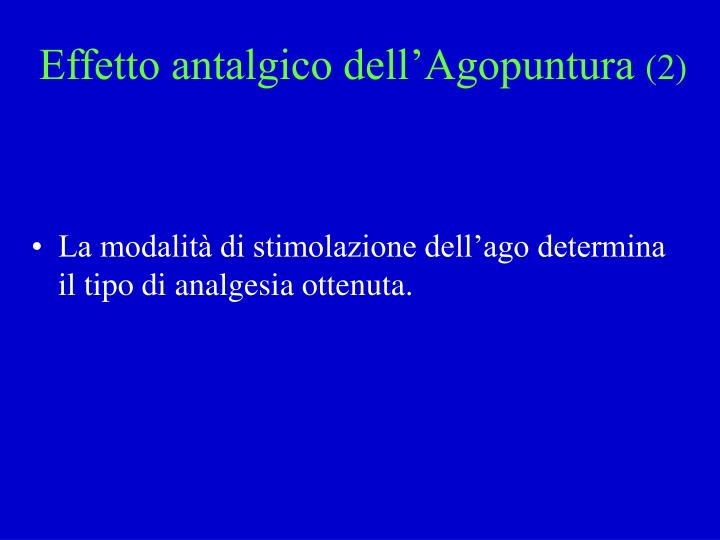 Effetto antalgico dell'Agopuntura
