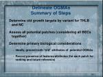 delineate ogmas summary of steps