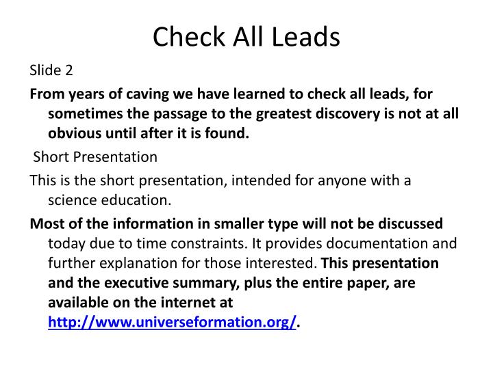 Check all leads