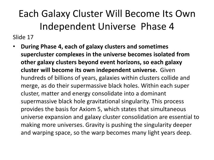 Each Galaxy Cluster Will Become Its Own Independent Universe  Phase 4