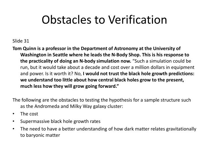 Obstacles to Verification