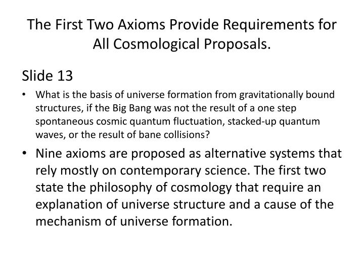 The First Two Axioms Provide Requirements for All Cosmological Proposals.
