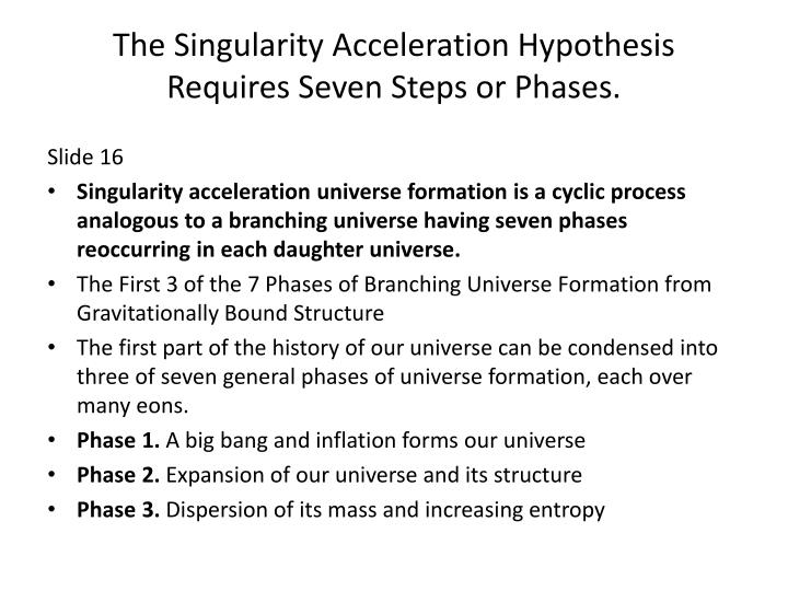 The Singularity Acceleration Hypothesis Requires Seven Steps or Phases.