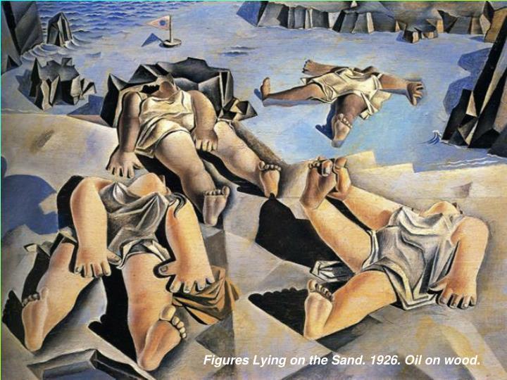 Figures Lying on the Sand. 1926. Oil on wood.