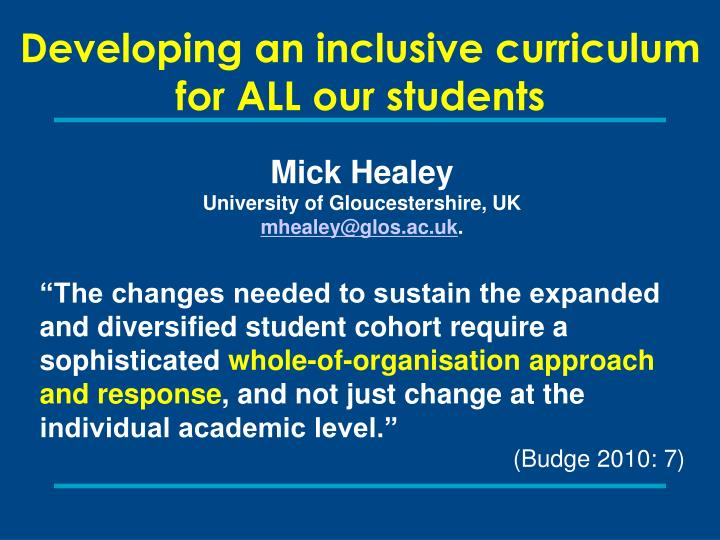 Developing an inclusive curriculum for ALL our students