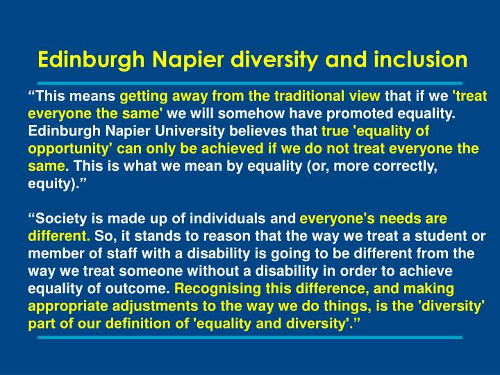 Edinburgh Napier diversity and inclusion