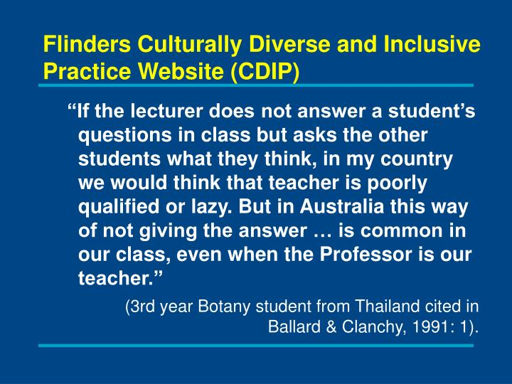 Flinders Culturally Diverse and Inclusive Practice Website (CDIP)