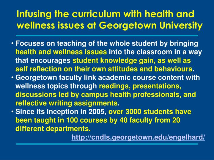 Infusing the curriculum with health and wellness issues at Georgetown University