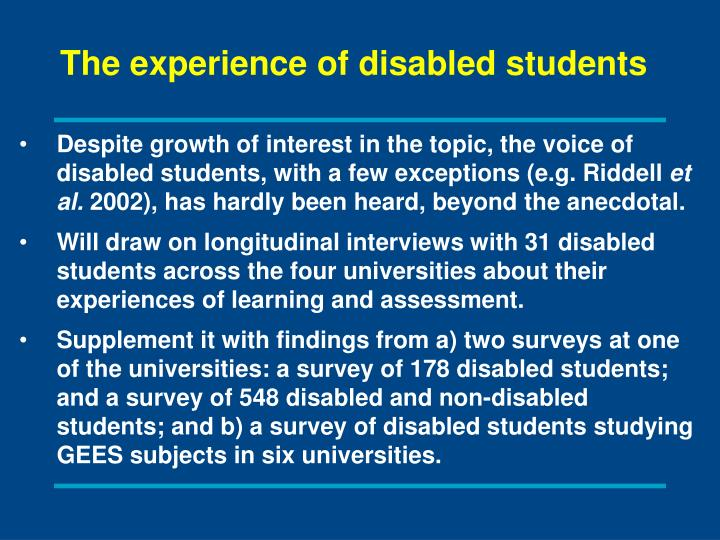 The experience of disabled students