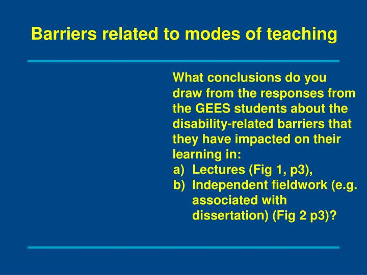 Barriers related to modes of teaching