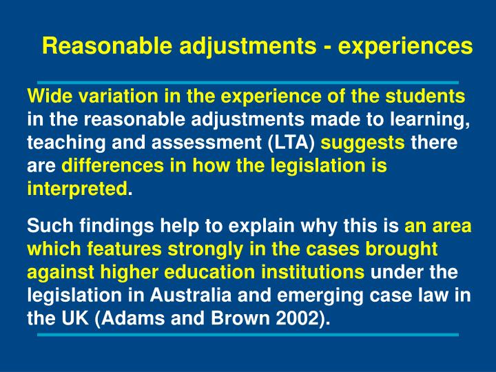 Reasonable adjustments - experiences