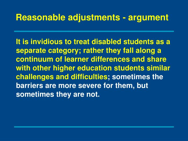 Reasonable adjustments - argument
