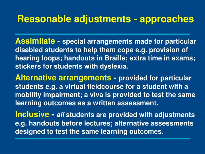 Reasonable adjustments - approaches