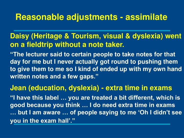 Reasonable adjustments - assimilate