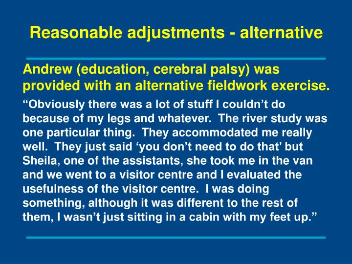Reasonable adjustments - alternative