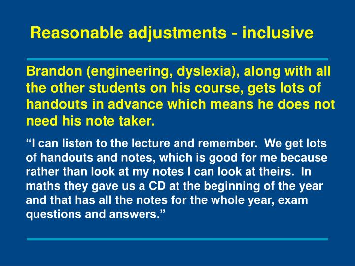 Reasonable adjustments - inclusive