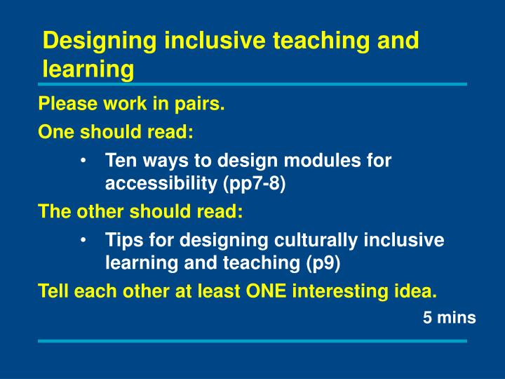 Designing inclusive teaching and learning