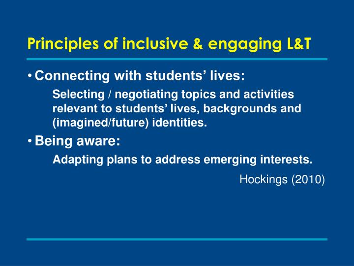 Principles of inclusive & engaging L&T